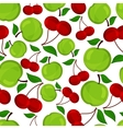 Seamless pattern of apple and cherrys vector image vector image