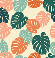 seamless pattern tropical monstera leaves vector image vector image