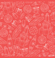 seamless winter pattern with hand drawn christmas vector image vector image