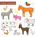 set of different colorful farm animals vector image