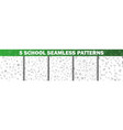 set of school seamless pattern in black and white vector image vector image