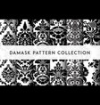 set of seamless damask patterns rich ornament old vector image