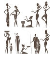 silhouettes native african men and women vector image vector image