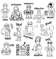 sketches cartoon man in various situations vector image vector image