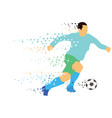 soccer player kicks the ball vector image