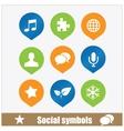 social symbols web media set vector image vector image