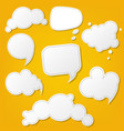 speech bubble set with yellow background vector image vector image