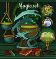the set of objects for witchcraft and vector image vector image