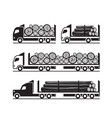 trucks for transport of wooden logs vector image vector image