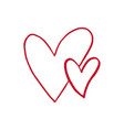 two red hand drawn hearts on white background vector image