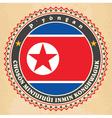 vintage label cards north korea flag vector image