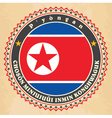 Vintage label cards of North Korea flag vector image vector image