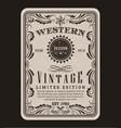 western frame border vintage label hand drawn vector image vector image