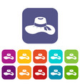 woman hat icons set vector image vector image