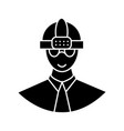 worker with helmet icon sig vector image vector image