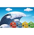 Tsunami with big waves over houses vector image