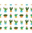 Cactus flat design seamless pattern vector image