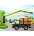 A truck with chickens near the gasoline station vector image vector image
