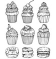 bakery set black and white vector image vector image