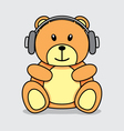 Bear listening music vector image