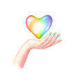 beautiful woman s hand with lgbt flag colors vector image