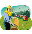 beekeeper takes care his hive vector image