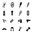 black barber icon set vector image vector image