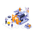 business puzzle isometric landing page vector image