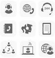 Call center servise set icons phone assistance and vector image vector image