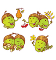 Cartoon set with acorn characters vector image