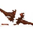 chocolate splash 3d realistic vector image vector image