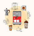 coffee equipment flat consept vector image vector image