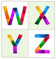 colorful polygonal alphabet slim vector image vector image
