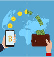 concept cryptocurrency bitcoin exchange vector image vector image
