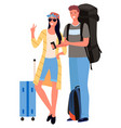couple tourists with suitcase and camera vector image vector image