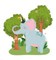 cute elephant with toucan and monkey hanging on vector image