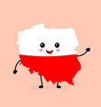 cute funny smiling happy poland map vector image
