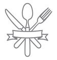 Cutlery - knife fork and spoon vector image