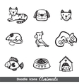 doodles icons with animals vector image vector image