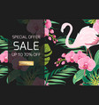 exotic orchid flowers jungle leaves sale banner vector image vector image