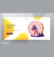 fast food pastry website landing page tiny man vector image vector image
