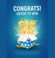 giveaway word above open textured blue box with vector image vector image