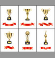 gold trophy cup award with red ribbons decoration vector image
