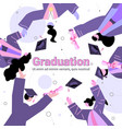 graduated students throwing hats graduates vector image