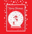 greeting card marry christmas with snowman in the vector image vector image