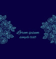 greeting card with blue outline roses on the navy vector image vector image