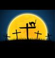 halloween growl black cat cross moon graveyard vector image vector image