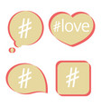 hashtag post social media icons set vector image vector image