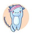 headache sick cute kitten of kawaii vector image vector image