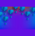 heart shaped blue hot air balloons in trendy paper vector image vector image